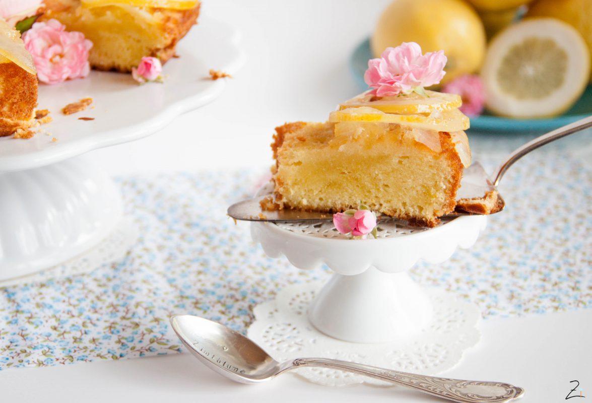 Zitronenkuchen Mit Olivenöl Und Kandierten Zitronen