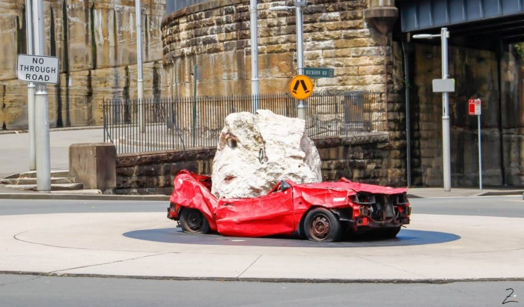 Car with Rock in Sydney