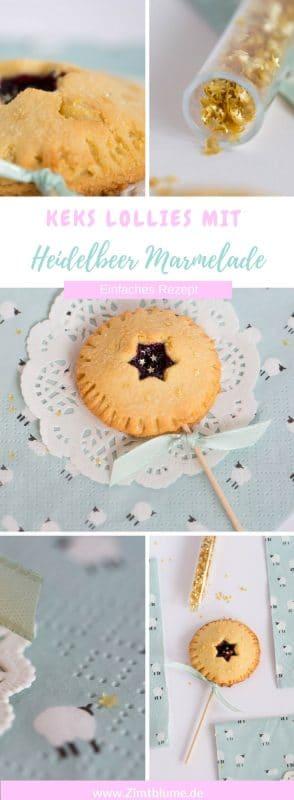 Ein Rezept für unheimlich leckere Keks Lollies gefüllt mit Heidelbeer Marmelade. Da werden Kindheitsträume wach!