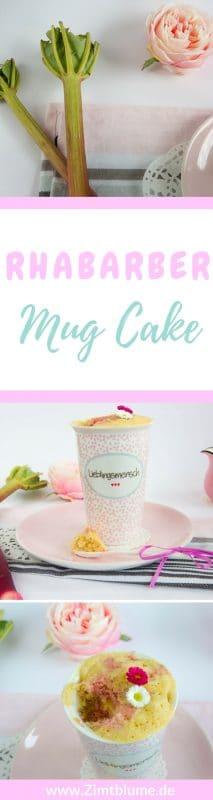 Rezept für einen Rhabarber Mug Cake mit Marzipan. Das kleine Küchlein schmeckt himmlisch und ist perfekt geeignet, wenn es mal schnell gehen muss