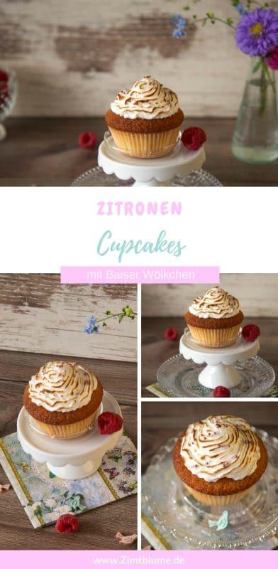 Ein Rezept für Zitronen Cupcakes mit Baiser Haube. Die Cupcakes sind richtig schön locker und oben von lufigem Baiser gekrönt. Ein Hingucker!