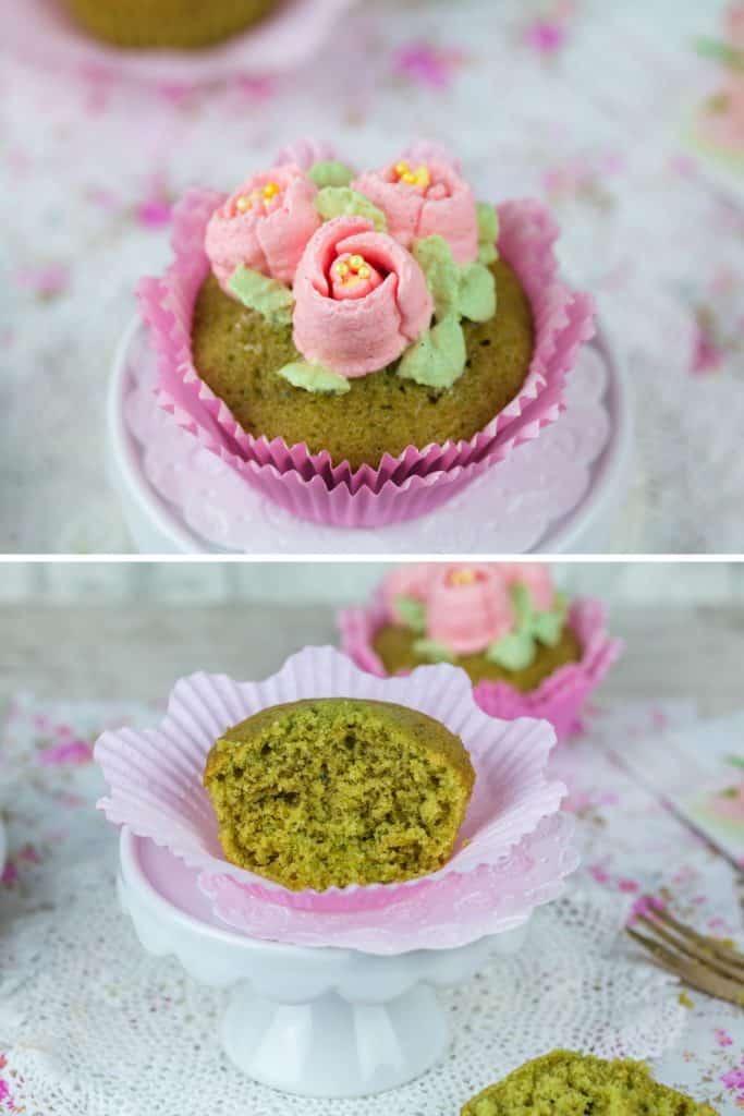 Rezept für Matcha Cupcakes mit Tulpen Buttercreme