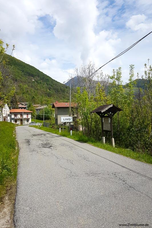 Ortsschild Livo, Italien