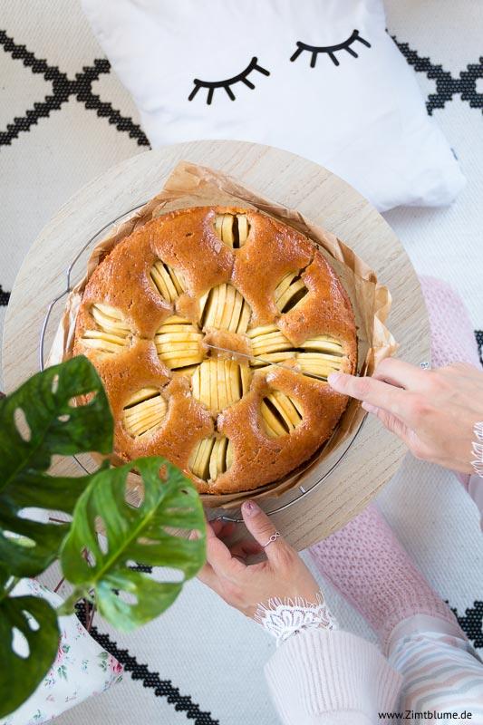 Versunkener Apfelkuchen, Anschnitt