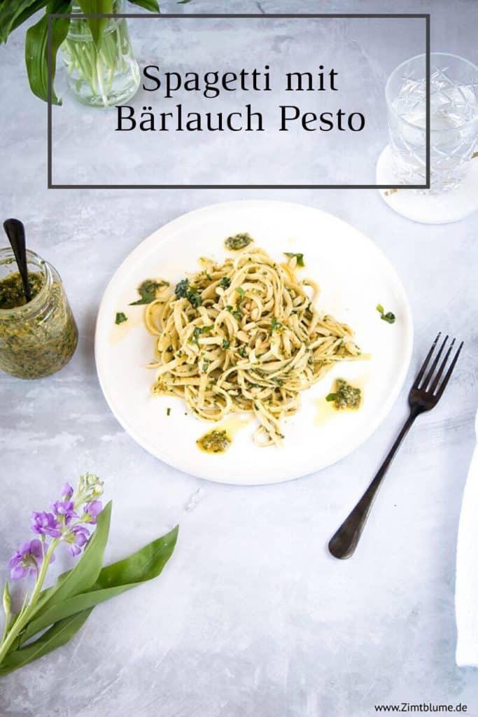 Rezept für schnelle Spagetti mit Bärlauch Pesto