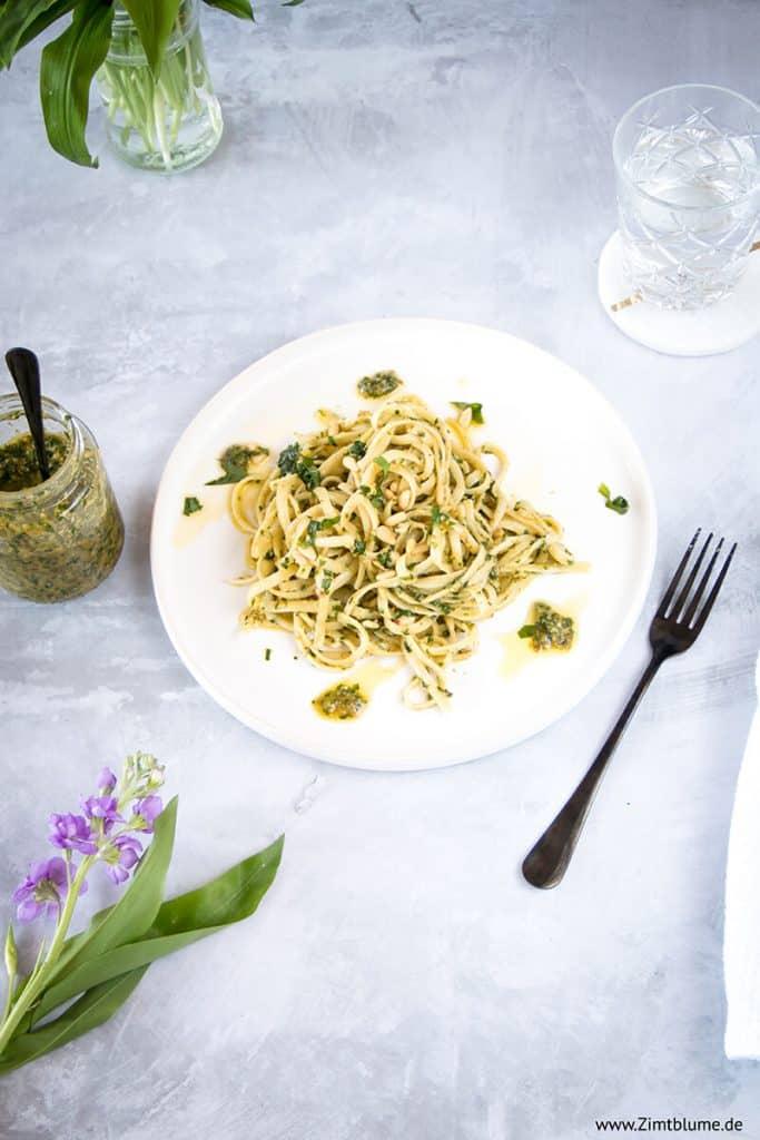 Die besten Spagetti mit selbst gemachtem Bärlauch Pesto