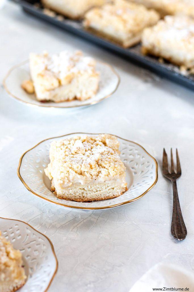 Puddingkuchen mit Hefeteig