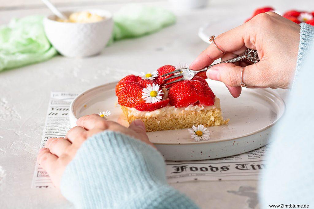Erdbeerkuchen mit Pudding vom Blech
