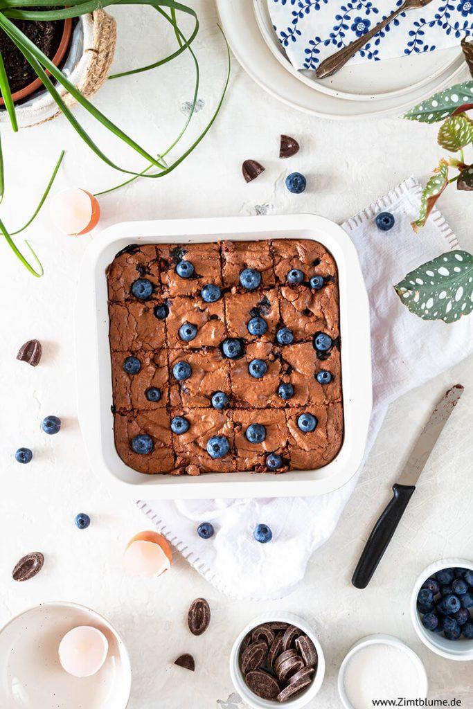 Rezept für Blaubeer Brownies