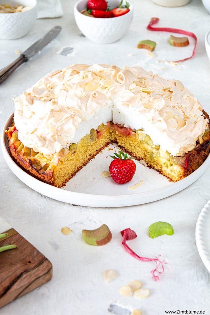Rezept für Rhabarberkuchen mit Baiser